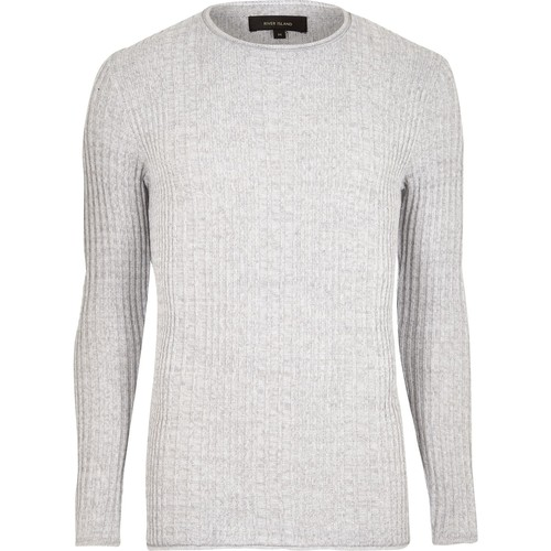 Light grey rib knit crew neck sweater