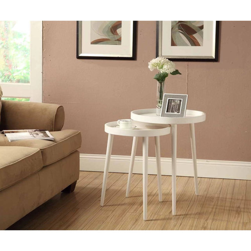 Monarch Specialties White 2-piece Nesting Table Set