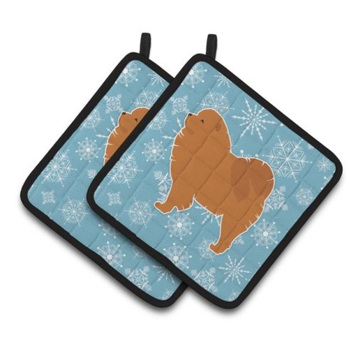 Winter Snowflakes Chow Chow Potholder