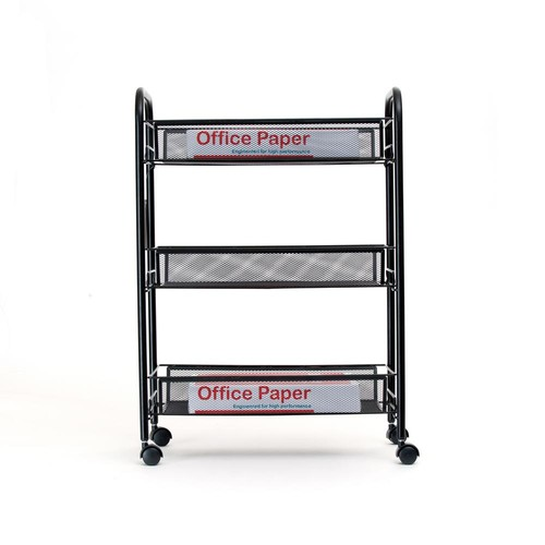 Mind Reader Roll' Rolling Metal Mesh 3-Shelf Coffee Cart in Black