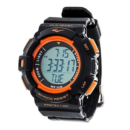 Everlast Unisex 47mm HR4 Heart Rate Monitor Watch with Black Rubber Strap