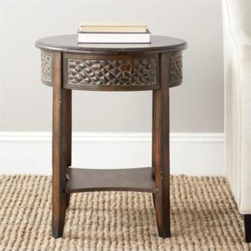 Safavieh Howard Birch Wood Side Table in Dark Brown