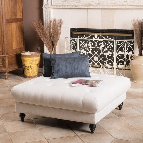 Bordeaux Eggshell Fabric Ottoman by Christopher Knight Home