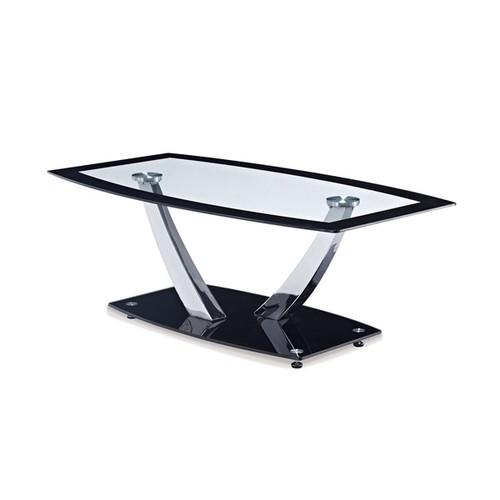 Global Furniture Black Finish Metal/Glass Top Coffee Table