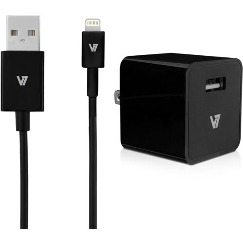 V7 12W USB Wall Charger with Lightning Cable - 12 W Output Power - 120 V AC, 230 V AC Input Voltage - 5 V DC Output Volt