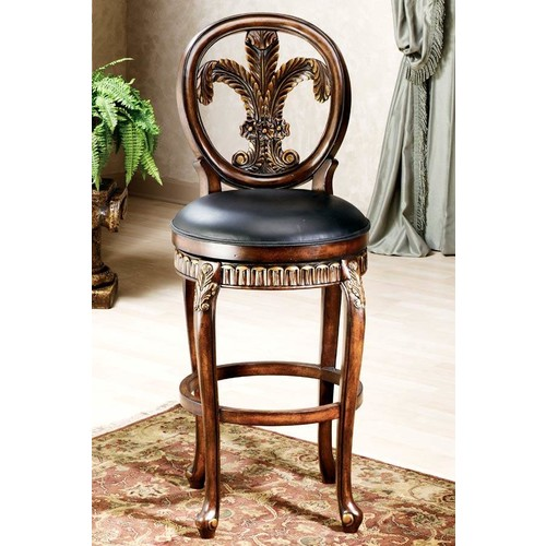 Hillsdale Furniture Fleur de Lis 31 in. Warm Cherry Swivel Cushioned Bar Stool