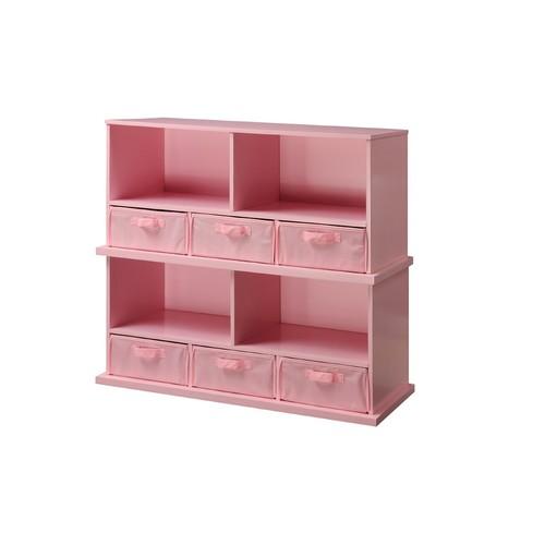 Badger Basket Shelf Storage Cubby with Three Baskets, Pink [Pink]