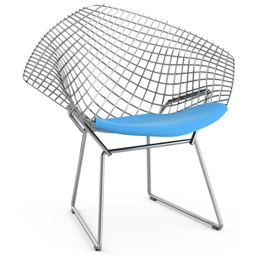 Bertoia Child's Diamond Chair with Seat Cushion [Fabric color : K10003 - Presto Stone; Frame Finish : C - Chrome]