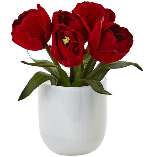 Nearly Natural Tulips w/White Glass Vase
