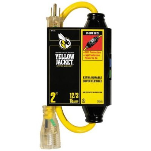 Yellow Jacket 2 ft. 12/3 SJTW In-Line GFCI Heavy-Duty Cord with Power Light Plug