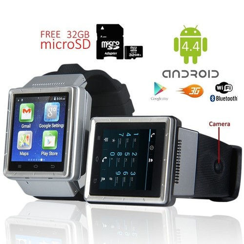 Indigi (Factory Unlocked 3G) Smartwatch & Phone Android 4.4 w/ WiFi Access + Built-In Camera + 32gb microSD Included - Silver