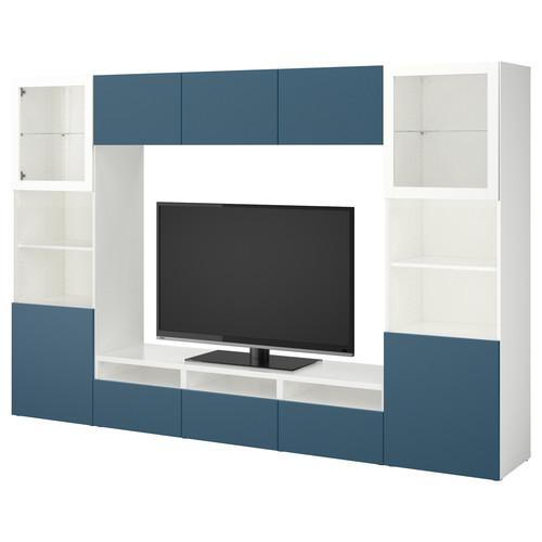 BEST TV storage combination/glass doors, walnut effect light gray Lappviken, Sindvik light gray clear glass [drawer : drawer runner, soft-closing]