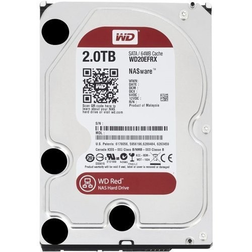 WD Red 2TB NAS Hard Disk Drive - 5400 RPM Class SATA 6 Gb/s 64MB Cache 3.5 Inch - WD20EFRX [2TB]