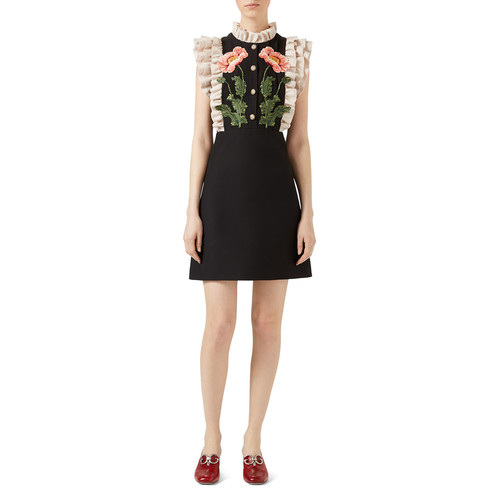 GUCCI Gardenia Cady Crepe Dress, Black/White