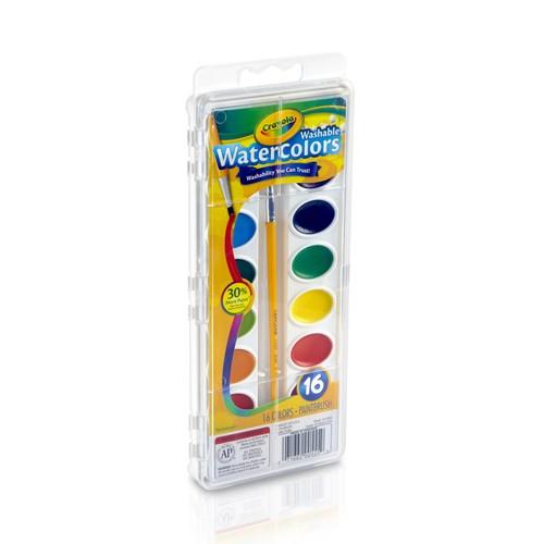 Crayola 25175411 Washable Watercolors, 16 colors