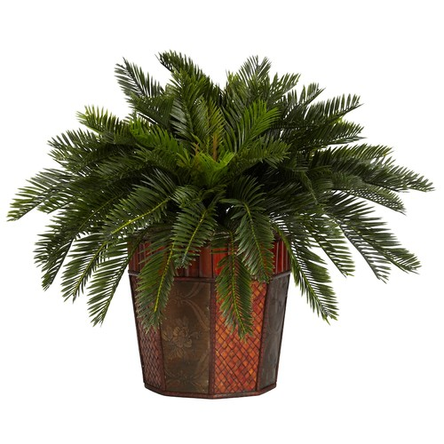 Nearly Natural 22 in. H Green Cycas with Octagon Vase Silk Plant
