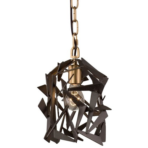 Varaluz Bermuda 1-Light Antique Gold with Rustic Bronze Mini Pendant