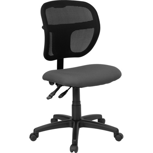 Theo Mesh Dual Paddle Control Swivel Adjustable Armless Ergonomic Office Chair with Grey Fabric Padded Seat
