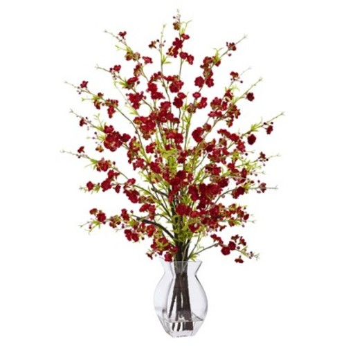 Cherry Blossom in Glass Vase Red - Nearly Natural