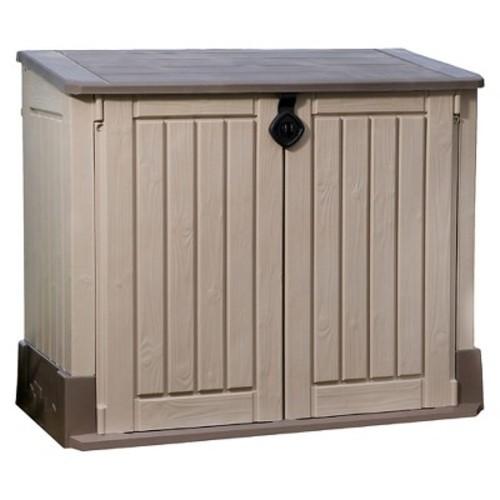 Store-It-Ot Midi Resin Horizontal Outdoor Storage Shed - Beige & Brown - Keter