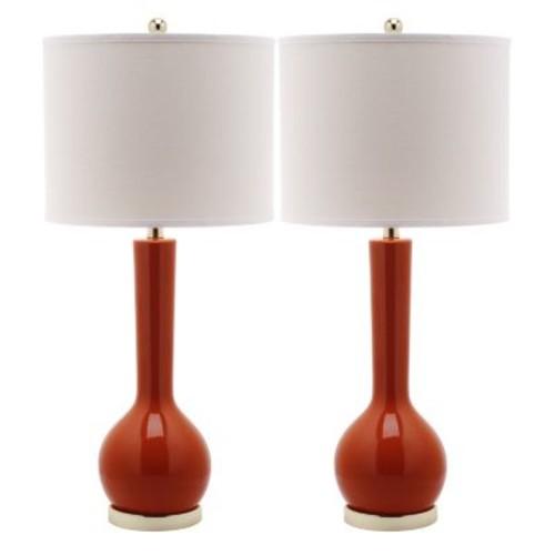 Mae Long Neck Ceramic 1-light Orange Table Lamps (Set of 2)