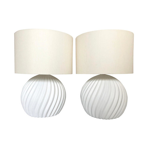 White Gesso Swirl Table Lamp, S/2