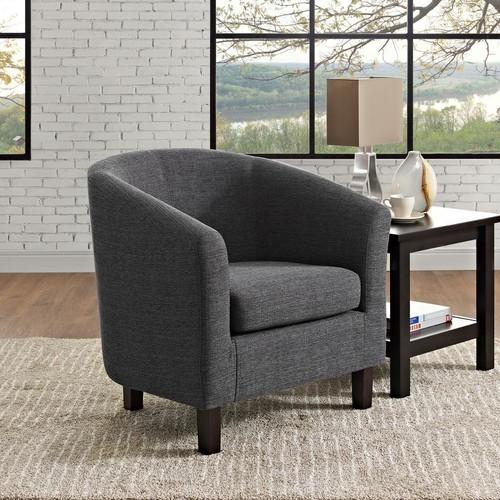 Simpli Home Austin Grey Fabric Arm Chair