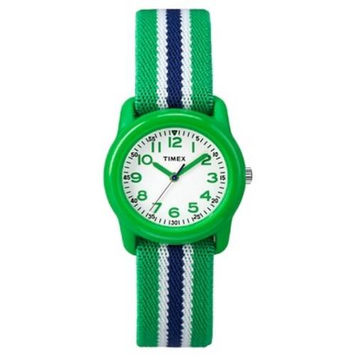 Kid's Timex Watch with Striped Strap - Green/Blue TW7C060009J