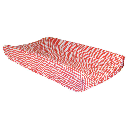 Trend Lab Changing Pad Cover - Coral Pink And White Chevron