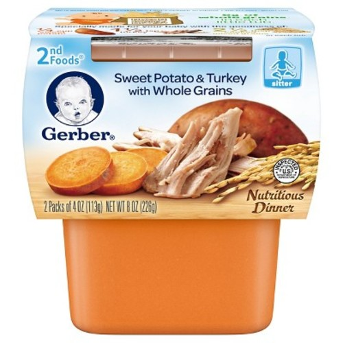 Gerber 2nd Foods, Sweet Potato and Turkey - 4oz 2pk