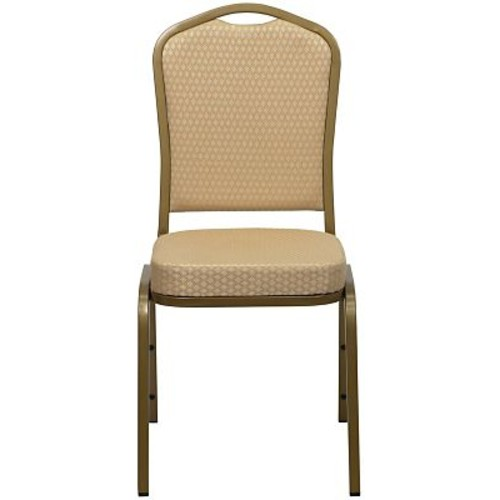 Flash Furniture HERCULES 10/Pack Fabric Gold Frame Crown Back Banquet Chairs