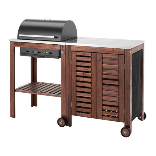 PPLAR / KLASEN Charcoal grill with cabinet, brown stained