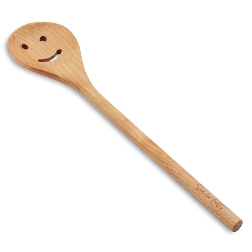 Sur La Table Smiley-Face Beechwood Slotted Spoon
