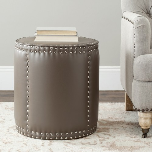 Safavieh Paula Clay Grey Leather Ottoman