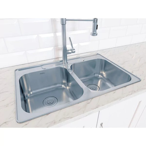 Ancona Capri Series Drop-in Stainless Steel 32 in Double Kitchen Sink