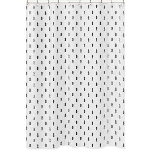 Sweet Jojo Designs Bear Mountain Triangle Tree Print Shower Curtain in Black/White