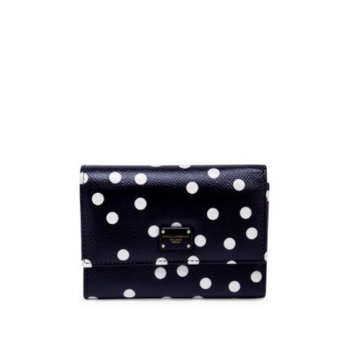 DOLCE & GABBANA Polka Dot Leather French Flap Wallet