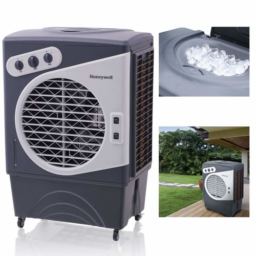 Honeywell 1540 CFM Indoor/Outdoor Evaporative Air Cooler (Swamp Cooler) with Mechanical Controls in Gray/White