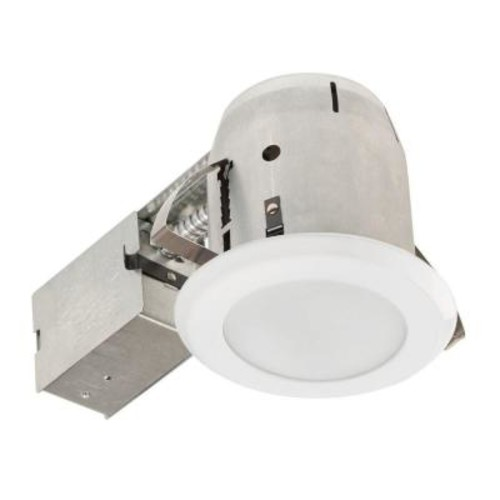 Globe Electric 4 in. Glossy White with Frosted Lens LED IC Rated Shower Recessed Lighting Kit Bathroom Dimmable Downlight