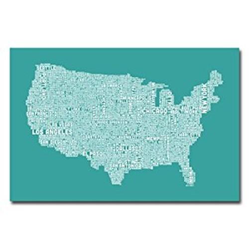 Trademark Fine Art US City Map XV by Michael Tompsett Canvas Wall Art, 30x47-Inch