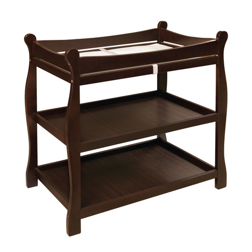 Sleigh Style Changing Table with Baskets - Color: Espresso