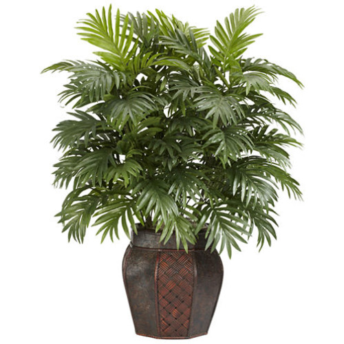 Nearly Natural Areca Palm Silk Plant with Vase