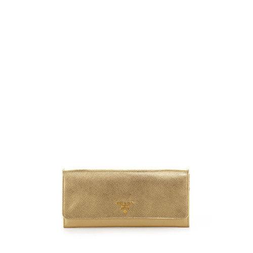 PRADA Saffiano Metallic Wallet On Chain, Gold (Platino)