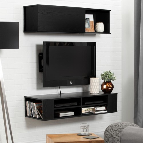 South Shore City Life 48 in. Black Oak Wall Mounted Media Console and Storage Unit