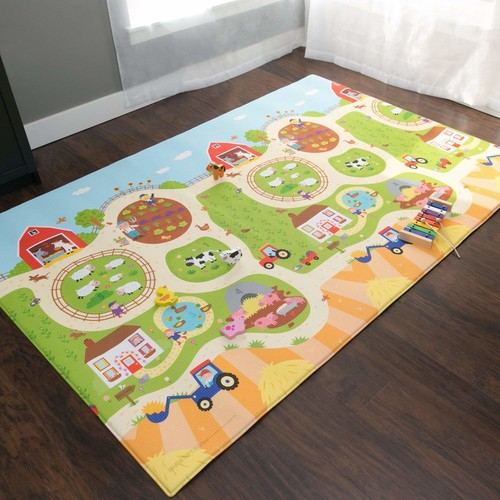 Baby Care Play Mat Foam Animal Floor Gym, Busy Farm, Large [Busy Farm, Large]