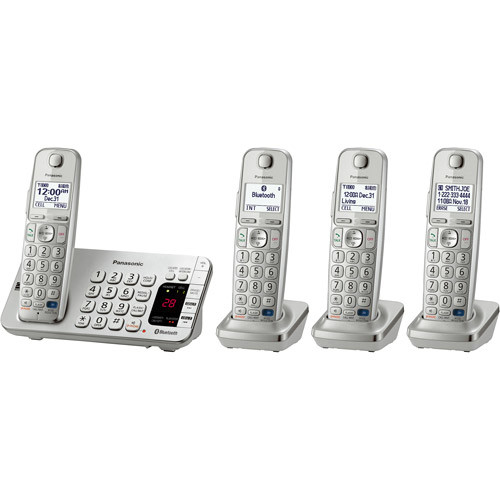 LINK2CELL BT PHONE CORDLESS W/ ANSWERING MACHINE 4HANDSET SLVR