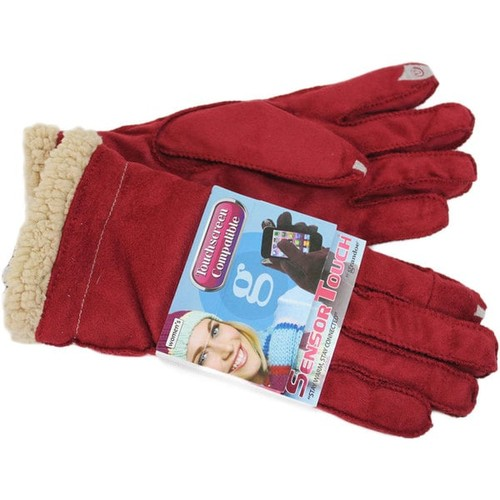 Grandoe Women's Red Suede Sensor-Touch Texting Gloves [option : Large]
