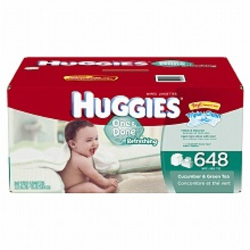 Huggies One & Done Refreshing Wipes, Refill Pack, Scented, Alcohol-free, Hypoallergenic Cucumber & Green Tea