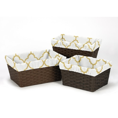 Sweet Jojo Designs White and Gold Trellis Collection 3-piece Basket Liner Set - Metallic Gold and White