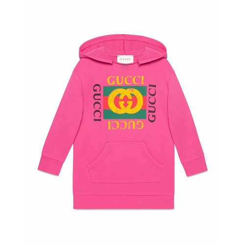 GUCCI Print Raw-Edge Hooded Sweatshirt, Size 4-12